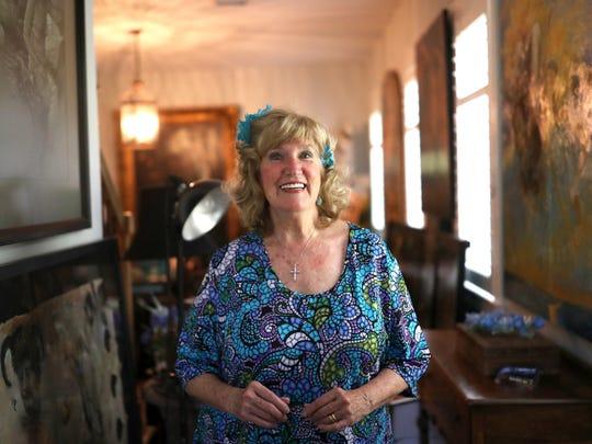 Tallahassee artist Stuart Riordan at her home studio.