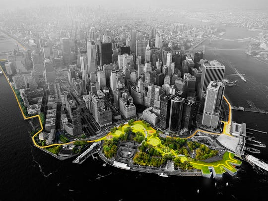This illustration provided by Rebuild by Design in October 2017 shows a flood-mitigation design for the Manhattan borough of New York. The BIG U proposal calls for a 10-mile protective system around the low-lying southern part of the island. The proposal is part of the Rebuild by Design competition to create infrastructure that would protect coastal areas affected by Superstorm Sandy.