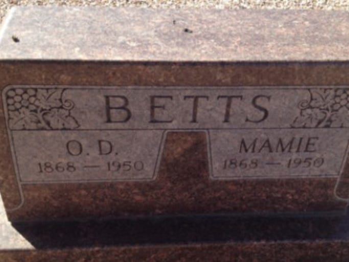 O.D. Betts, buried at Glendale Memorial Cemetery, is