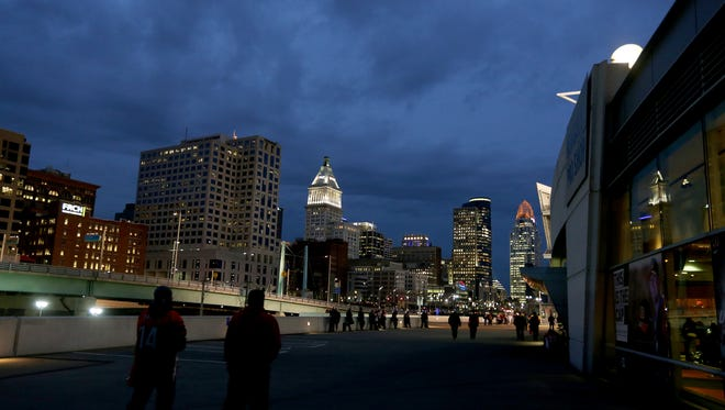 The Cincinnati skyline near Paul Brown Stadium.