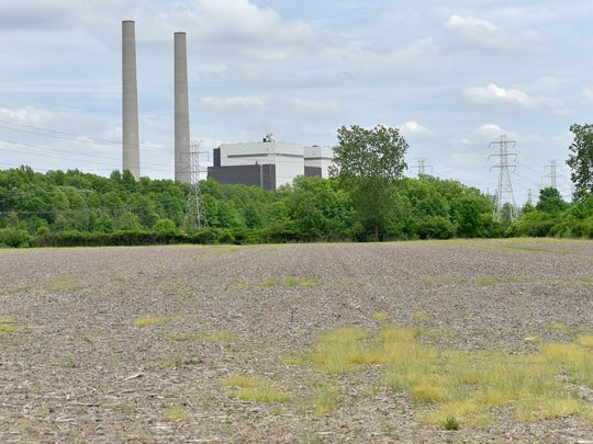 The Belle River Power Plant is surrounded by crop fields