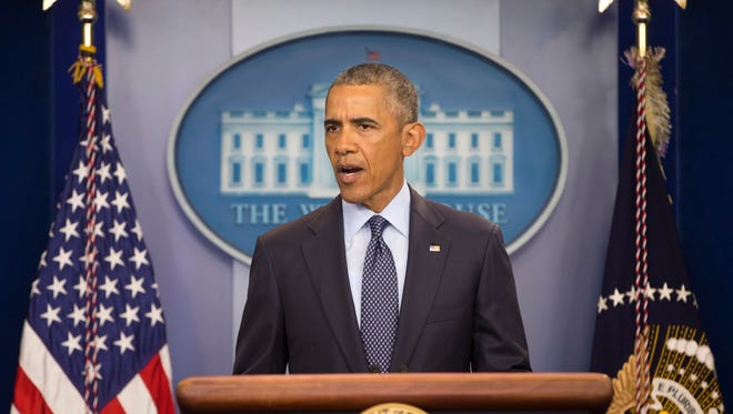 President Barack Obama at a news conference at the White House in Washington, Sunday, June 12, 2016.