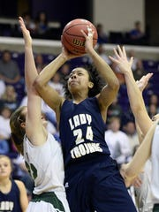 Northpoint Christian forward Jade Wells (24) shoots over Knoxville Webb center Kayleigh Hames (23) left, during the second half of the Tennessee Division II A girls high school basketball championship game on Saturday, March 5, 2016, in Nashville, Tenn. Northpoint Christian won 63-42. (AP Photo/Mark Zaleski)
