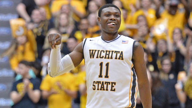 Cleanthony Early of the Wichita State Shockers reacts after hitting a three-point shot against the Loyola-Chicago Ramblers.
