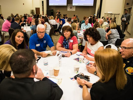 Lebanon County community leaders talk during a breakout