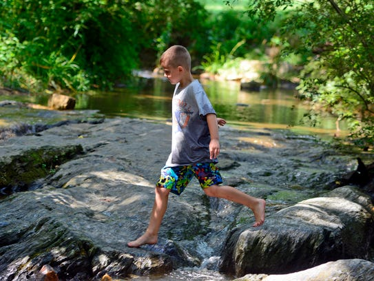 Connor Sweitzer, 6, of Springettsbury Township, plays