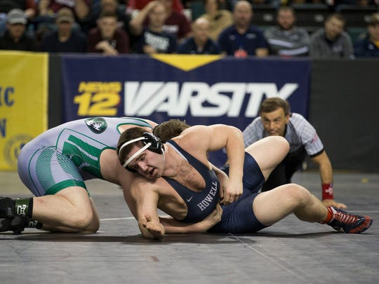 Howell's Eric Keosseian defeats South Plainfield's Zach Delvecchio in their 220 lbs. semifinal bout. NJSIAA Semifinal Wrestling and  in Atlantic City, NJ on March 4, 2017