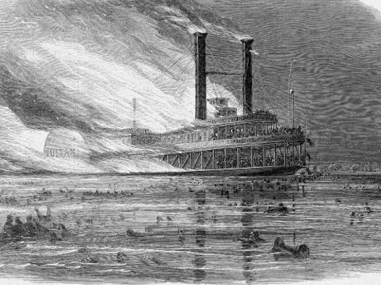 Harper's Weekly sketch of Sultana burning on the Mississippi River