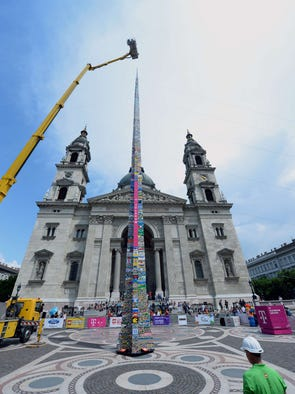 A 114-foot high tower of Lego plastic bricks is seen in front of the St Stephen's Basilica in Budapest on May 25, 2014.