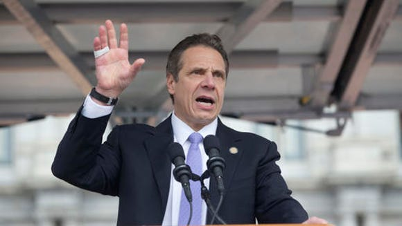 Gov. Andrew Cuomo speaks during a rally at the Empire