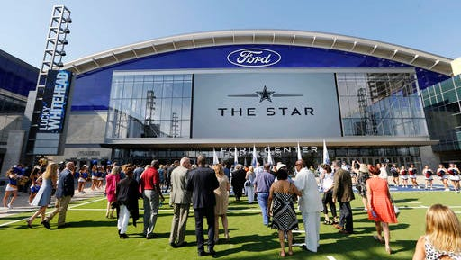 People make their way inside The Star, the Dallas Cowboys new headquarters at The Star in Frisco, Texas, Sunday, Aug. 21, 2016.