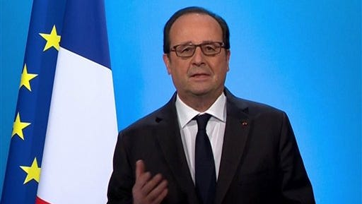 In this grab taken from video, French President Francois Hollande makes a statement, during a televised broadcast, at the Elysee Palace, in Paris, Thursday, Dec. 1, 2016. Hollande has announces he will not be running in the 2017 French Presidential election.