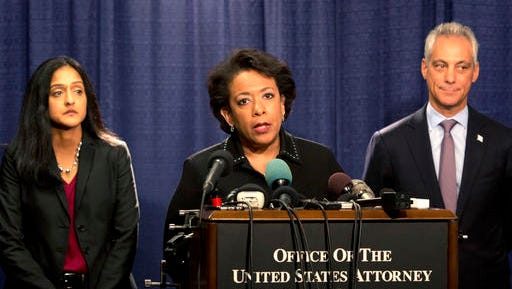 Attorney General Loretta Lynch speaks during a news conference accompanied by Principal Deputy Assistant Attorney General Vanita Gupta, left, and Chicago Mayor Rahm Emanuel Friday, Jan. 13, 2017, in Chicago. The U.S. Justice Department issued a scathing report on civil rights abuses by Chicago's police department over the years. The report released Friday alleges that institutional Chicago Police Department problems have led to serious civil rights violations, including racial bias and a tendency to use excessive force.
