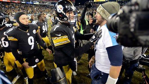 Pittsburgh Steelers quarterback Ben Roethlisberger (7) talks with Tennessee Titans quarterback Zach Mettenberger, right, after an NFL football game Monday, Nov. 17, 2014, in Nashville, Tenn. The Steelers won 27-24. (AP Photo/Mark Zaleski)