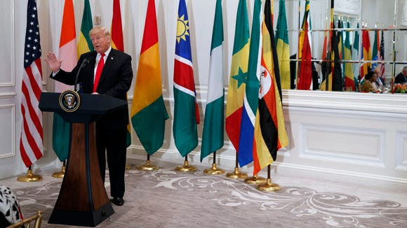 President Trump speaks during a luncheon with African