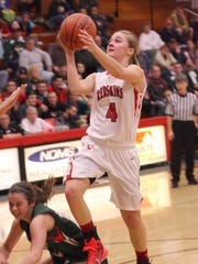 Port Clintons' Hannah Weaver puts up a shot and is fouled.