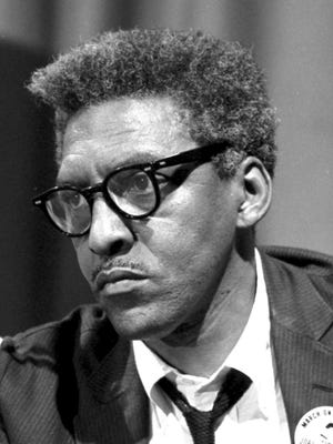 Bayard Rustin at a 1963 press conference prior to the March on Washington.