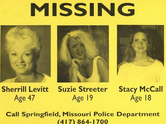 The flyer for the three missing women, Sherrill Levitt, Suzie Streeter and Stacy McCall.