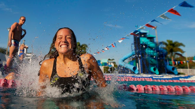 KINFAY MOROTI/THE NEWS-PRESS.. Olympic hopeful Stephanie Peacock relaxes Wednesday (1/7/15) at the Mac Kennedy Pool at DeLeon in Fort Myers. Peacock is a graduate of the University of North Carolina and Bishop Verot High School.