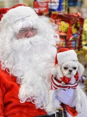 """Cookie wears a """"Santa hat"""" while posing for his photo with Santa (Dr. Donald Goodwin) at Pet Supermarket on Sunday, Dec. 15, 2013."""
