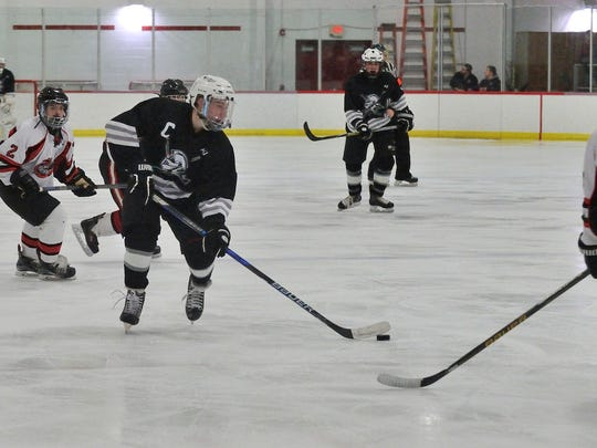 Wayne's Dean Hulbert moving puck in Passaic County final against Lakeland.