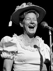 Minnie Pearl is performing during the WSM Luncheon and Opry Spectacular at the Grand Ole Opry House Oct. 14, 1976 as part of OpryÕs 51st birthday celebration week.
