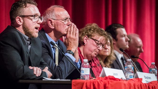 Six school board candidates answer questions from attendees during the Muncie School Board candidate forum at Northside Middle School on Tuesday night.