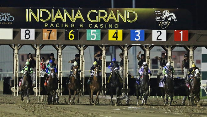 Contenders leave the starting gate for the 21st running of the Indiana Derby, which offered an added 500,000 dollar purse, Saturday, July 18, 2015, Indiana Grand Racing and Casino, Shelbyville, Ind.
