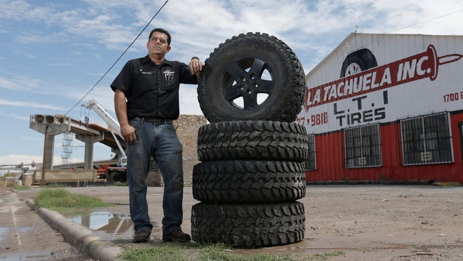 Jaime Flores was forced to move his La Tachuela tire shop across the street, from 1607 E. Paisano to 1700 E. Paisano, to make way for the Coles Street interchange, which is part of the $600 million Border West Expressway project. A bridge that will connect Border Highway with Paisano is being constructed almost in front of his business.