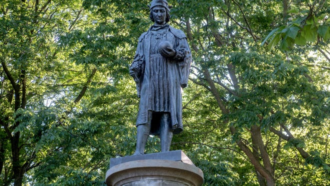 The Christopher Columbus statue by Alfons Pelzer stands on June 12 in upper Bradley Park.