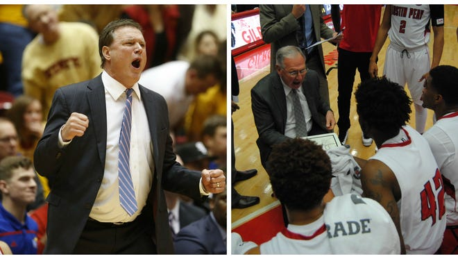 Bill Self (left) and Dave Loos (right) started a friendship years ago as assistant coaches.