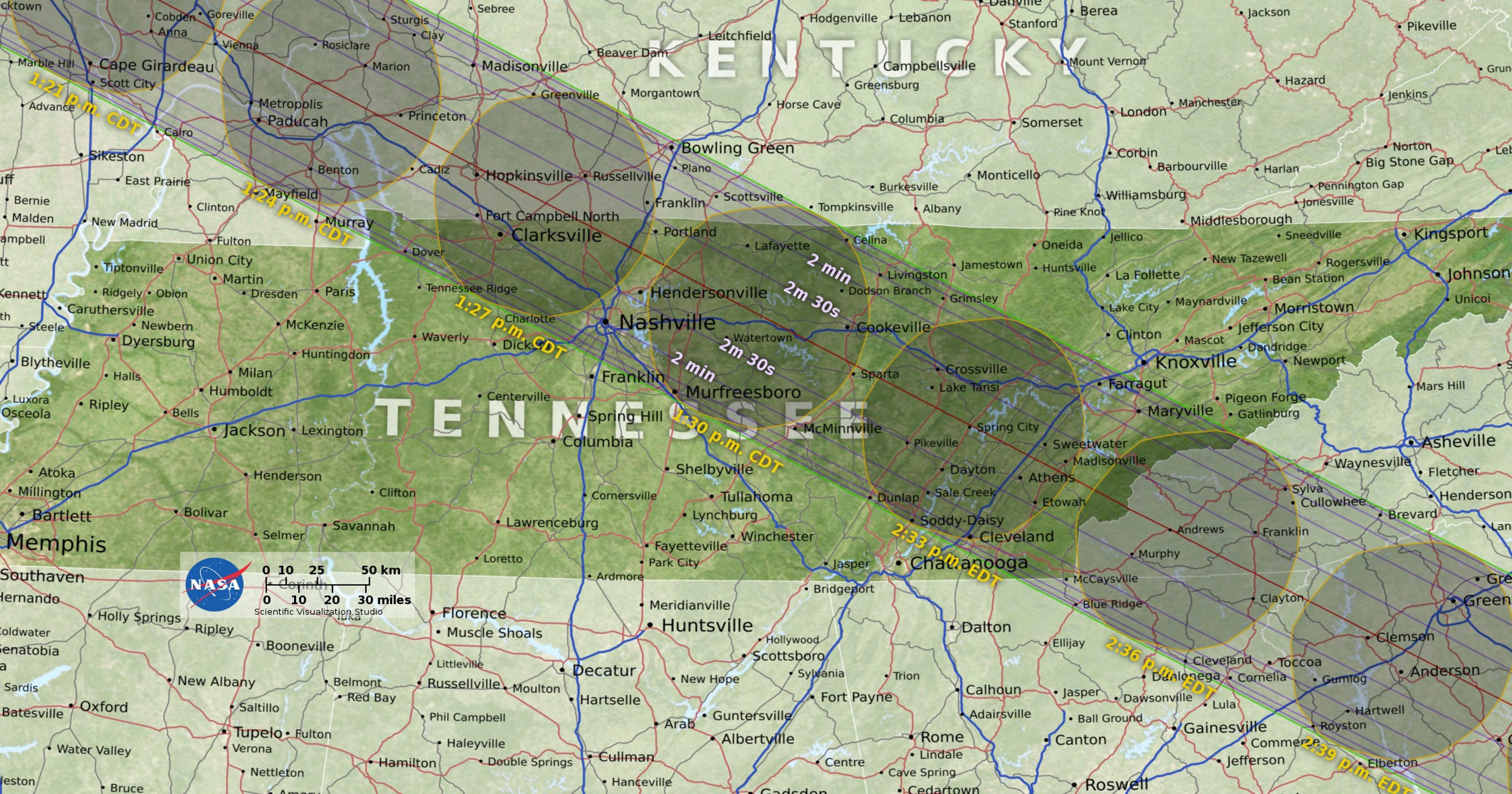 Solar Eclipse 2017 Map: The path of totality through Tennessee ...