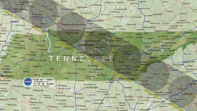 This map from NASA shows the eclipse's path through Tennessee, including Nashville, Clarksville and outside of Knoxville. The historic solar eclipse darkens parts of the United States on Aug. 21, 2017.
