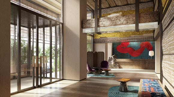 This is the lobby of the new Nobu Hotel Barcelona.