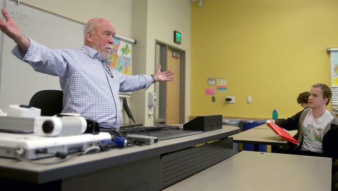 Phil Schaffer taught his last class at Olympic College on Monday. He was at the college for 50 years.