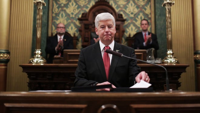 Governor Rick Snyder addresses the Flint water crisis during his State of the State speech on Tuesday January 19, 2016 at the state Capitol Building in Lansing.