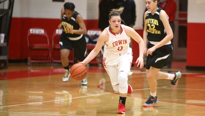 Kasey Kidwell led the Erwin girls with 17 points Thursday night.
