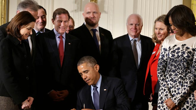 President Obama signs the Clay Hunt Suicide Prevention for American Veterans Act, named for Clay Hunt, which calls for evaluation of existing Veterans Affairs mental health and suicide prevention programs and expands the reach of these programs for veterans.