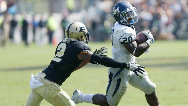 Da'Wan Hunte chases down Nevada's James Butler late in the fourth quarter to force a Wolf Pack field goal attempt to try and tie the game Saturday, September 24, 2016, at  Ross-Ade Stadium. Purdue defeated Nevada 24-14.