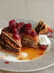 Cranberry sauce, oat and flax pancakes.