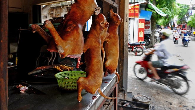 Slaughtered dogs are displayed for sale in front of a shop in Hanoi, Vietnam.