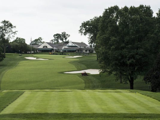 The par-4 18th hole at Lancaster Country Club is 470 yards and will be a challenging final hole at the U.S. Women's Open, which opens with practice rounds Monday ahead of Thursday's first round of the tournament. The 18th hole is known as the most demanding hole at Lancaster Country Club because of its unforgiving uphill slope.