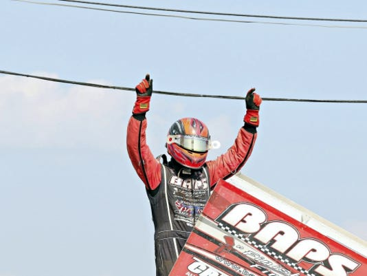 Lebanon County's Brent Marks exults after capturing the Tuscarora 50 Sprint race at Port Royal on Sunday. Marks has won three well-paying races at the Port since Sept. 7.
