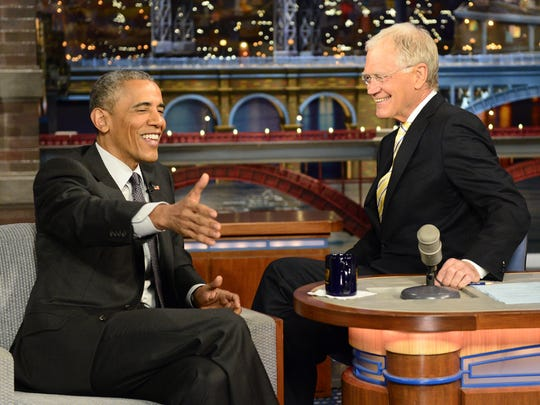 """President Barack Obama visits David Letterman on May 4, 2015. Obama is no stranger to late-night talk; he was the first sitting president to appear on a late-night program, though he did it on """"The Tonight Show."""""""