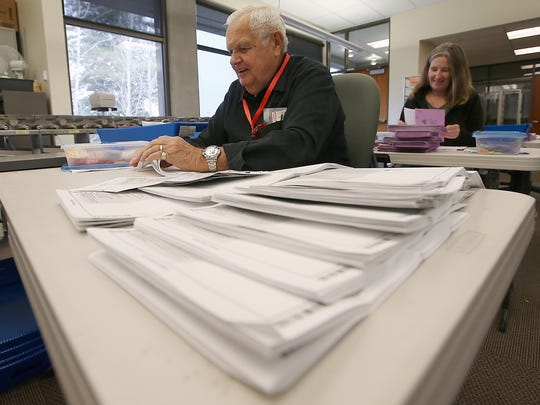 FILE PHOTO – Jerry Preuss processes ballots at the Kitsap County Auditor's Office in Port Orchard on Tuesday, November 7, 2017.