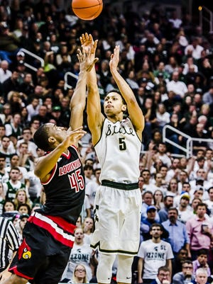 MSU's Bryn Forbes made 5 of 9 3-pointers and scored 20 points Wednesday.