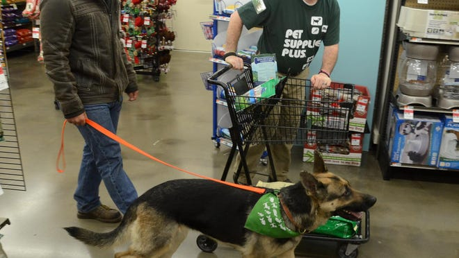 U.S. Army veteran Abner Gonzalez walks through the South Lyon Pets Supplies Plus with store manager Patrick Anthony on Dec. 28 as he begins a $500 shopping spree arranged for him and his dog Sophie by the retailer and through Dogs on Deployment, which looked after his German shepherd while he was overseas.
