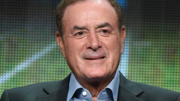 """FILE - In this Aug. 13, 2015, file photo, Al Michaels participates in the """"Monday Night Football"""" panel at the The NBCUniversal Television Critics Association Summer Tour at the Beverly Hilton Hotel in Beverly Hills, Calif. Al Michaels will host NBC's daytime coverage during the Olympics in Rio de Janeiro. Michaels is working his fourth straight Olympics for NBC, all with similar roles. The daytime coverage will originate from Copacabana Beach.(Photo by Richard Shotwell/Invision/AP, File)"""