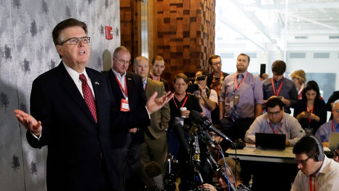 Texas Lt. Gov. Dan Patrick speaks during a news conference at the Texas Republican Convention Friday, Dallas. Texas is signaling the state it will challenge an Obama administrative directive over bathroom access for transgender students in public schools.