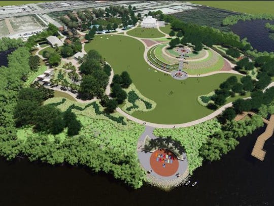 A Baker Park design projection shows waterfront views